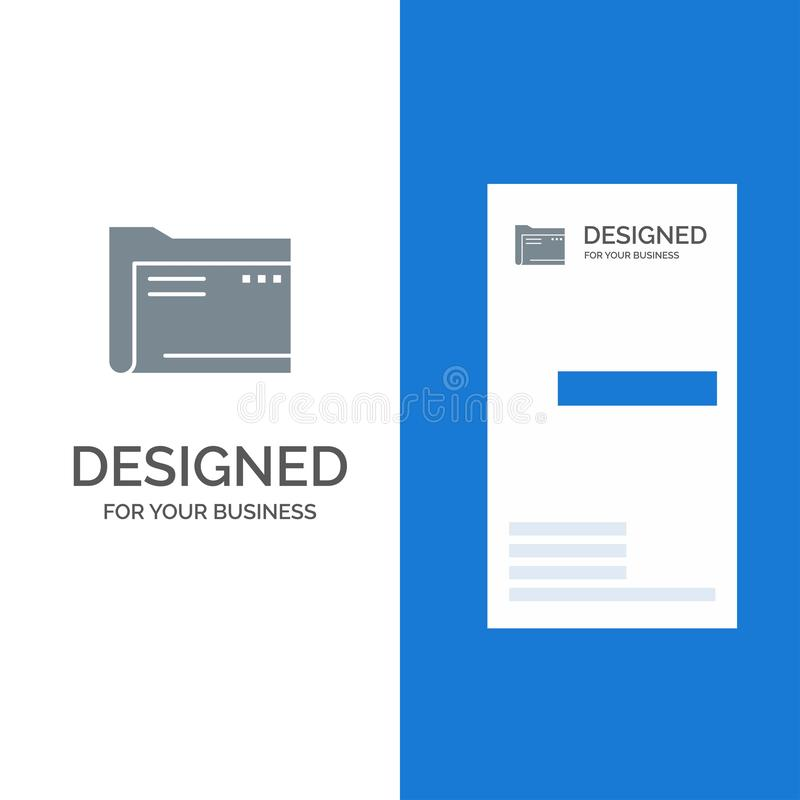 Folder, Archive, Computer, Document, Empty, File, Storage Grey Logo Design and Business Card Template vector illustration