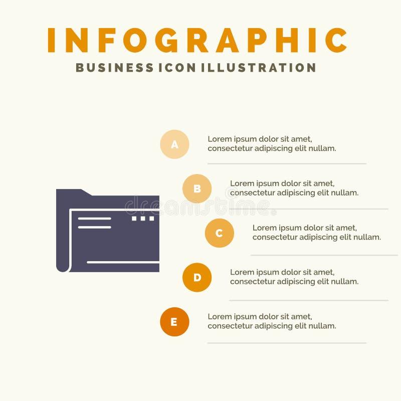 Folder, Archive, Computer, Document, Empty, File, Storage Solid Icon Infographics 5 Steps Presentation Background vector illustration
