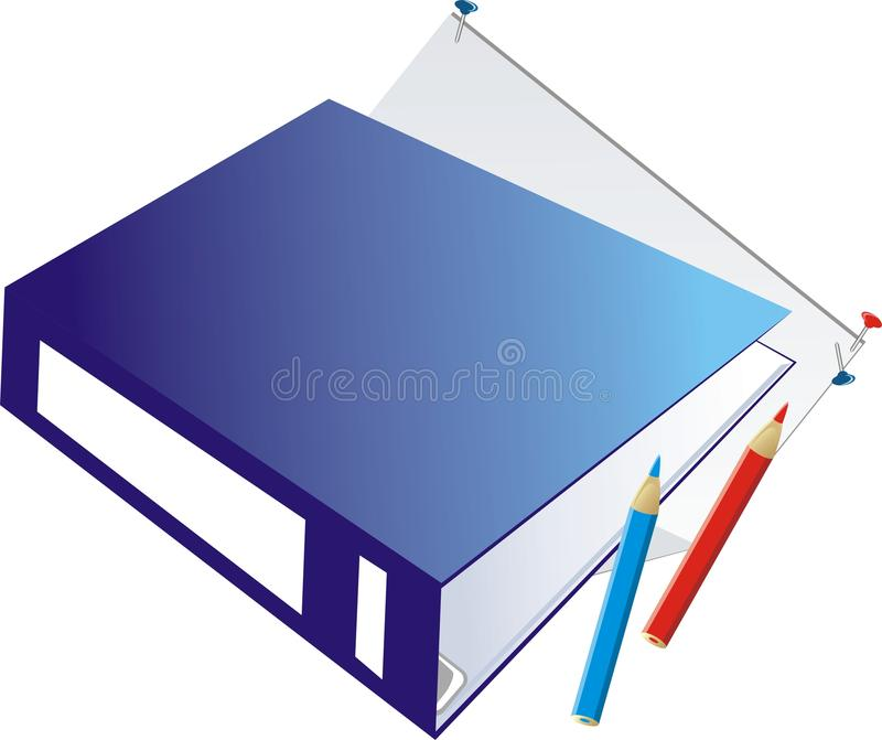 Download Folder-binder and pencils stock vector. Image of stationeries - 10625579