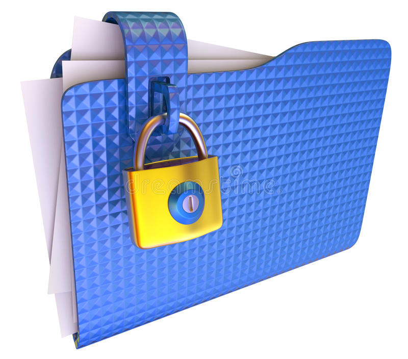 Folder. The blue folder with golden hinged lock vector illustration