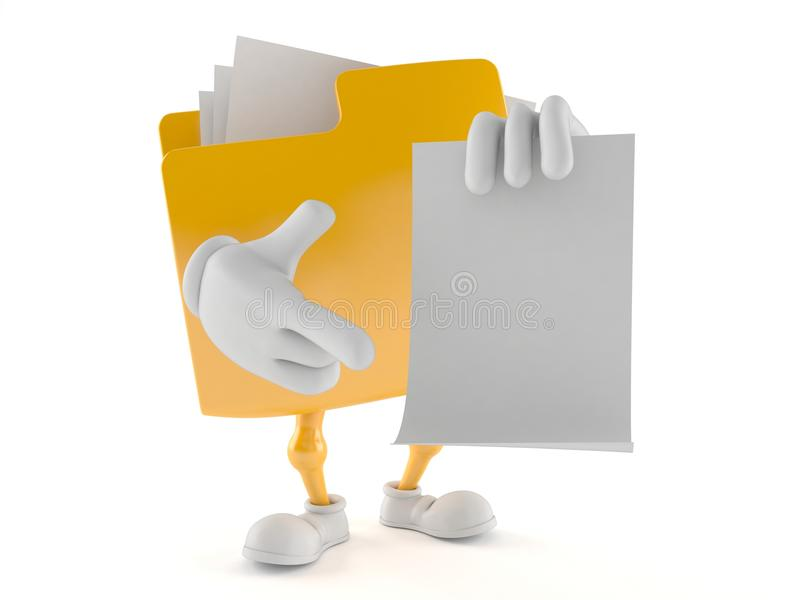 Folder character with blank sheet of paper stock illustration