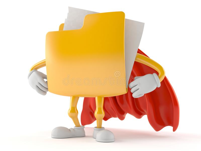 Folder character with hero cape. Isolated on white background. 3d illustration vector illustration