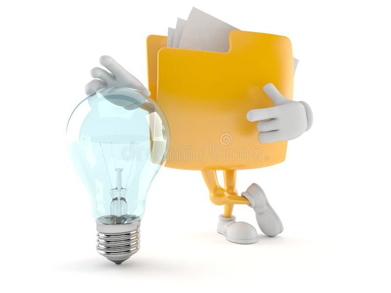 Folder character with light bulb vector illustration