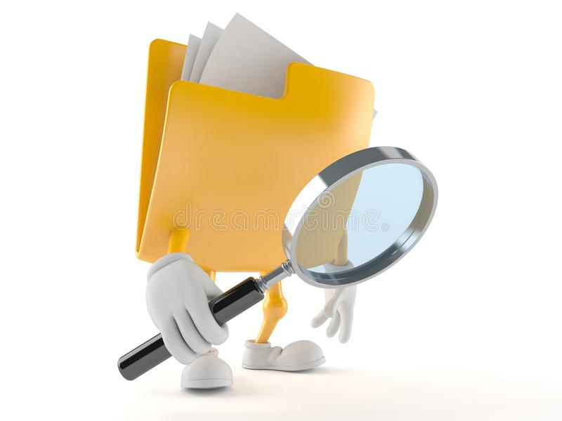 Folder character looking through a magnifying glass royalty free illustration