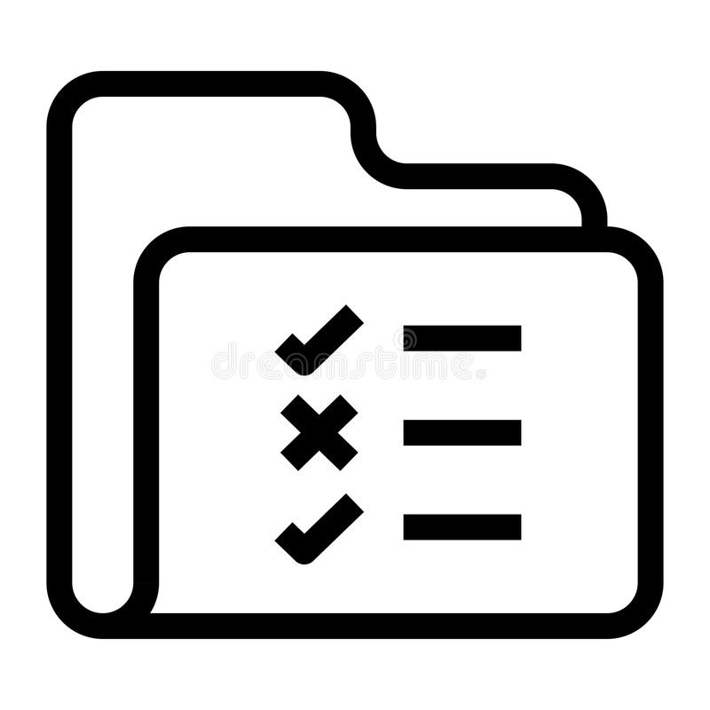 Folder check list Line icon stock illustration