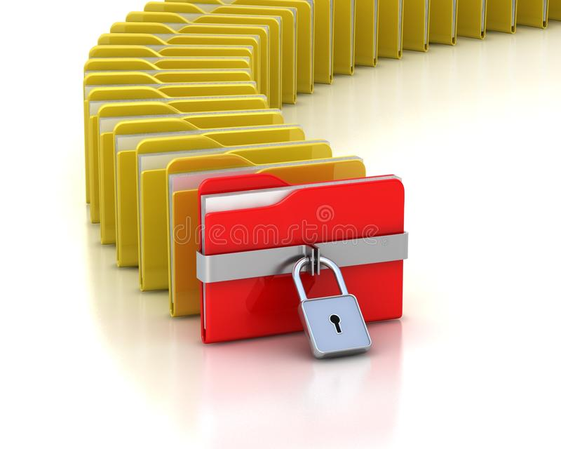 Folder With Closed Padlock And Many Opened Folders Stock Photo