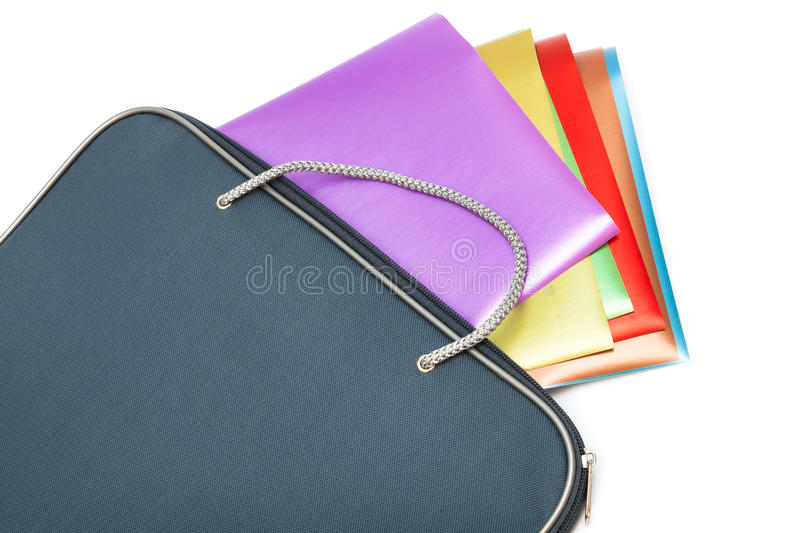 Folder with colored paper stock image