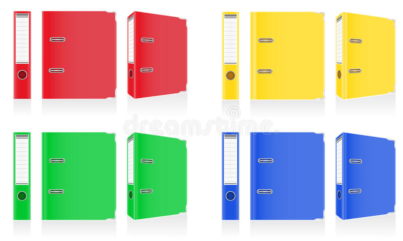 Folder colors binder metal rings for office illustration. Isolated on white background royalty free illustration