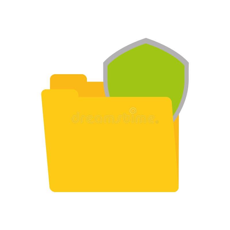 folder data shiled protection security technology stock illustration