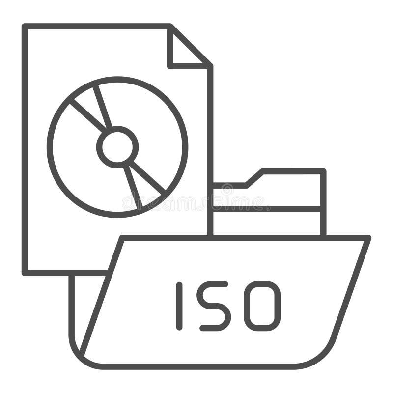 Folder with disk thin line icon. File folder vector illustration isolated on white. Computer folder outline style design. Designed for web and app. Eps 10 stock illustration