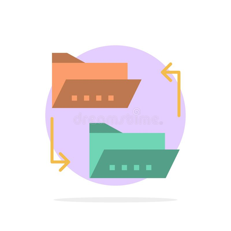 Folder, Document, File, File Sharing, Sharing Abstract Circle Background Flat color Icon royalty free illustration