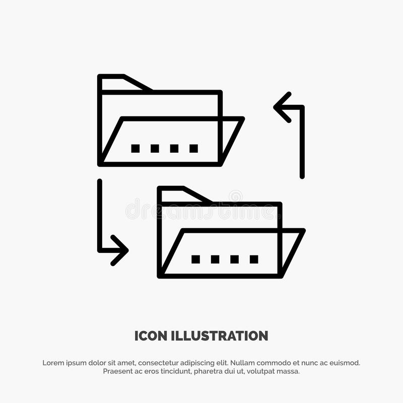 Folder, Document, File, File Sharing, Sharing Line Icon Vector stock illustration