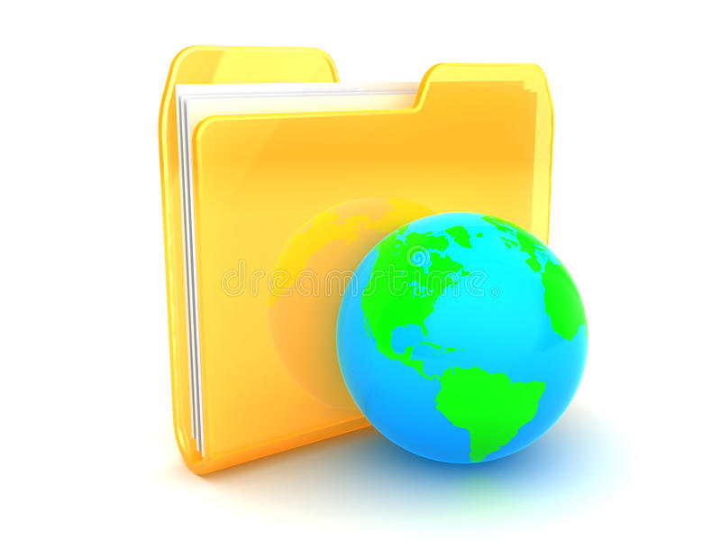 Folder with earth. 3d illustration of folder icon and earth globe vector illustration