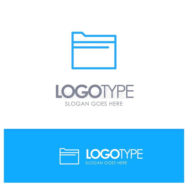 Folder, File, Data, Storage Blue Outline Logo Place for Tagline royalty free illustration