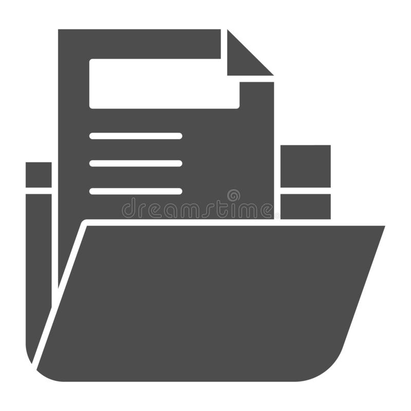 Folder with file solid icon. Archive folder vector illustration isolated on white. Computer folder glyph style design. Designed for web and app. Eps 10 royalty free illustration