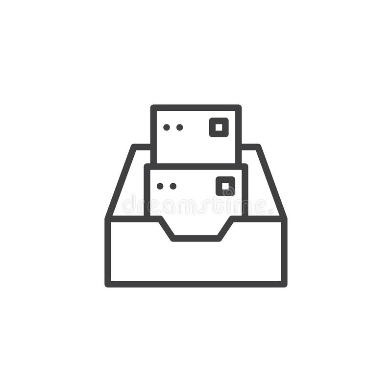 Folder with files line icon vector illustration