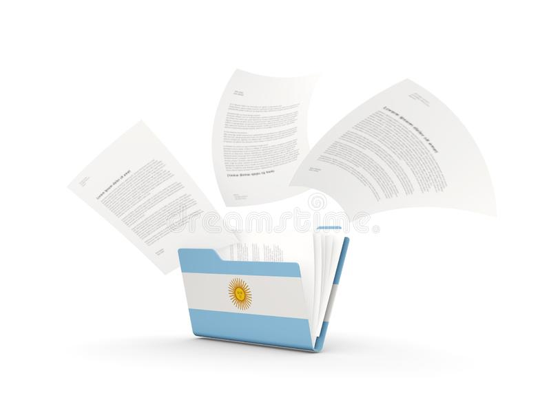 Folder with flag of argentina. And files isolated on white. 3D illustration stock illustration