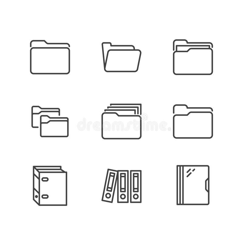 Folder flat line icons. Document file vector illustrations - business paper organizing, computer directory outline signs royalty free illustration