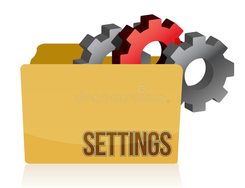 Folder And Gears Settings Illustration Design Royalty Free Stock Images