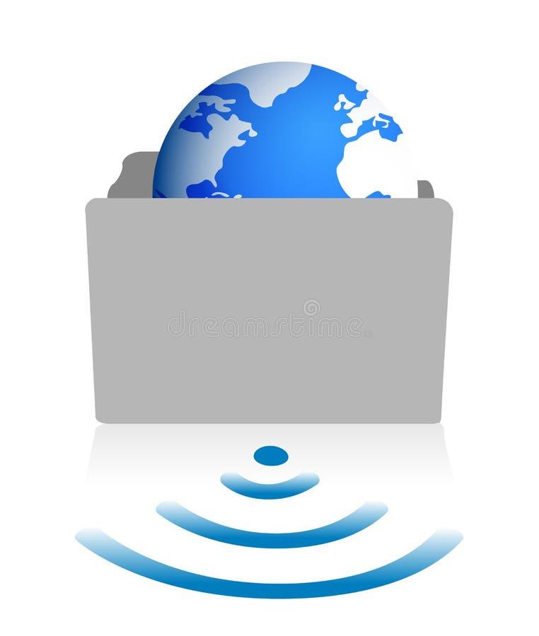 Folder glove wifi. Illustration design over white stock illustration
