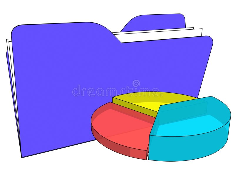 Folder with graphic chart stock image