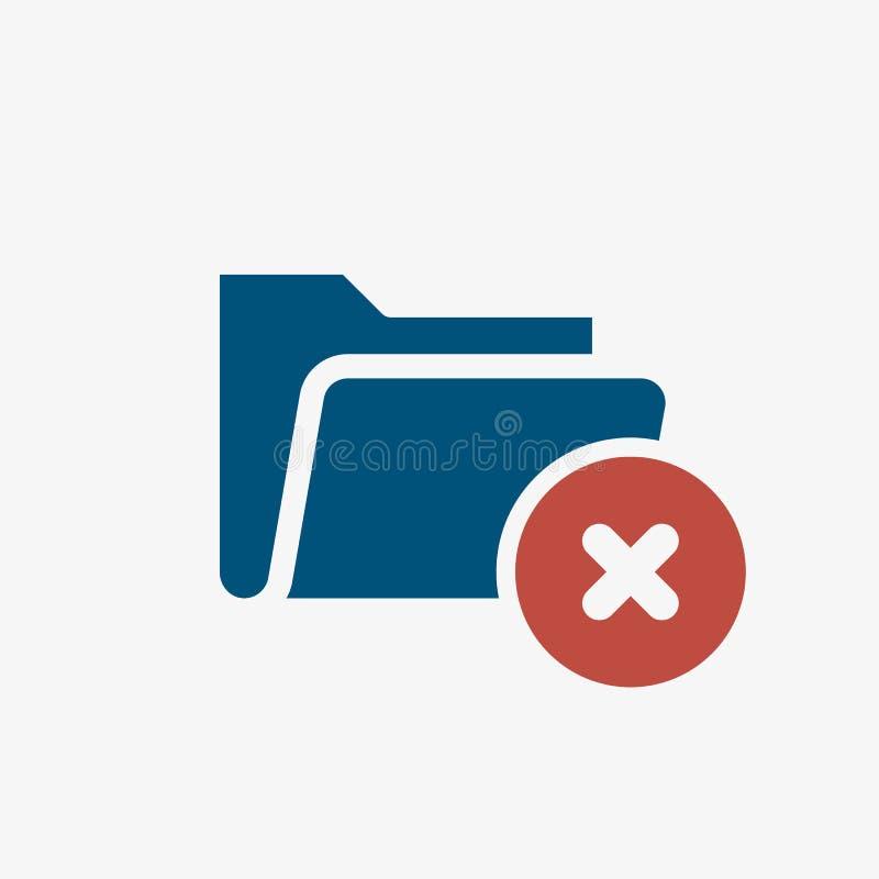 Folder icon, business icon with cancel sign. Folder icon and close, delete, remove symbol. Vector illustration stock illustration