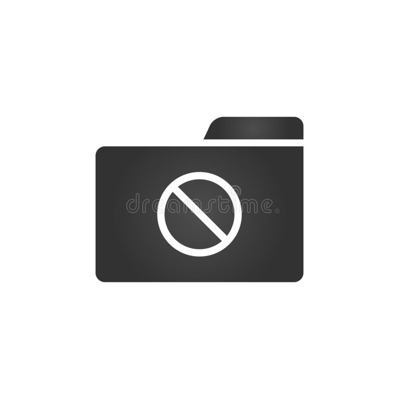 Folder Icon with Forbidden sign in trendy flat style isolated on white background, for your web site design, app, logo, UI. Vector. Illustration stock illustration