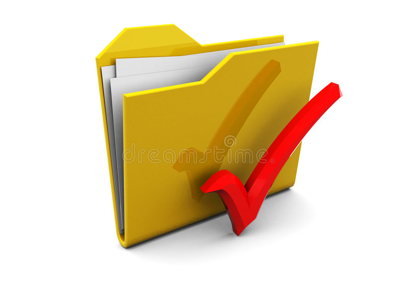 Folder icon with red tick vector illustration