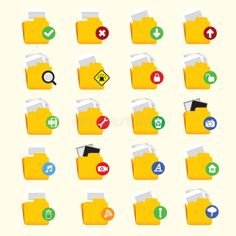 Download Folder Icon Set stock vector. Image of alarm, open, import - 37223125