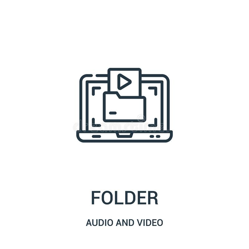 Folder icon vector from audio and video collection. Thin line folder outline icon vector illustration. Linear symbol for use on web and mobile apps, logo stock illustration