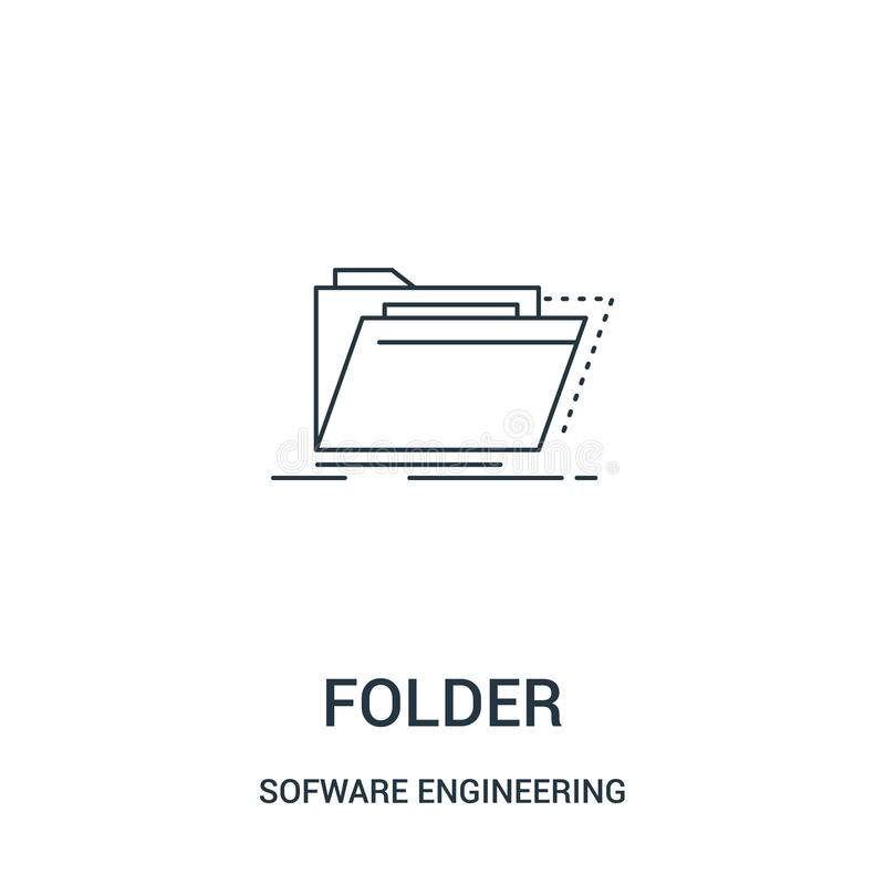 Folder icon vector from sofware engineering video gaming collection. Thin line folder outline icon vector illustration. Linear. Symbol for use on web and mobile stock illustration