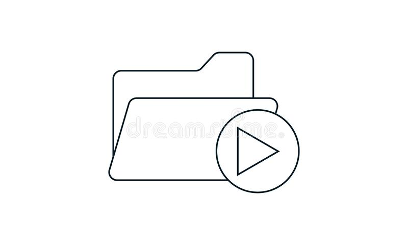 Folder icon with video clips on a white background. Video Folder  icon vector illustration. Flat style graphical symbol. can be used for web and mobile apps royalty free illustration
