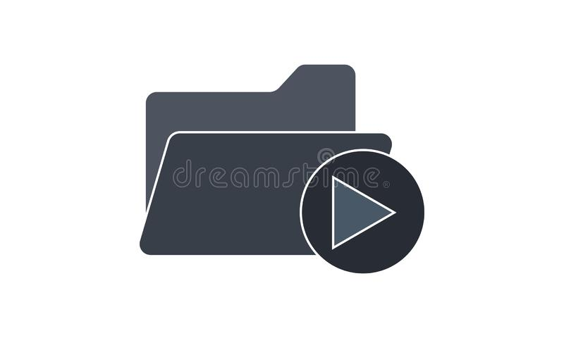 Folder icon with video clips on a white background. Video Folder  icon vector illustration. Flat style graphical symbol. can be used for web and mobile apps vector illustration