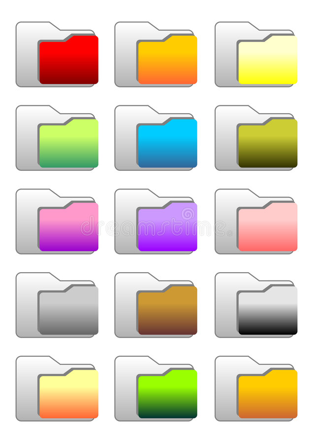 Folder icons. Set of web folder icons with different colors vector illustration