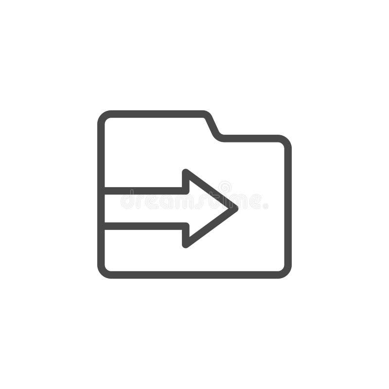 Folder, import vector icon. Multimedia minimalist outline vector icon vector illustration