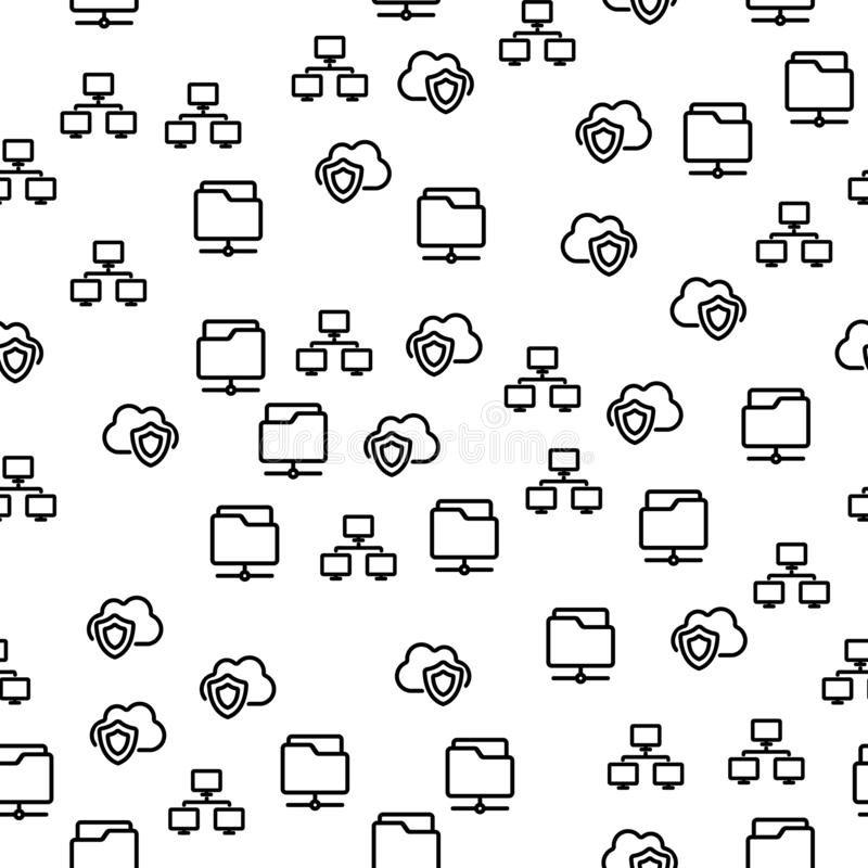 Folder With Important Cloud File Seamless Pattern royalty free illustration