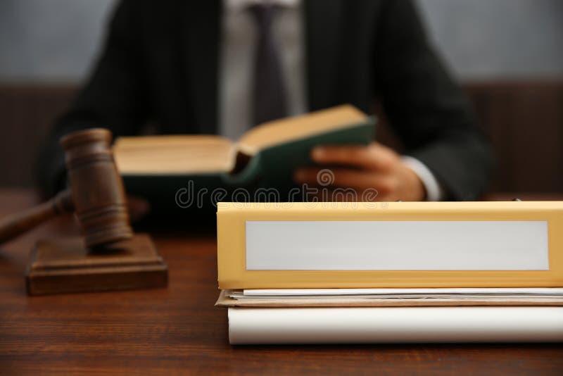 Folder on judge`s table, closeup. Folder on judge`s table, close up royalty free stock photo