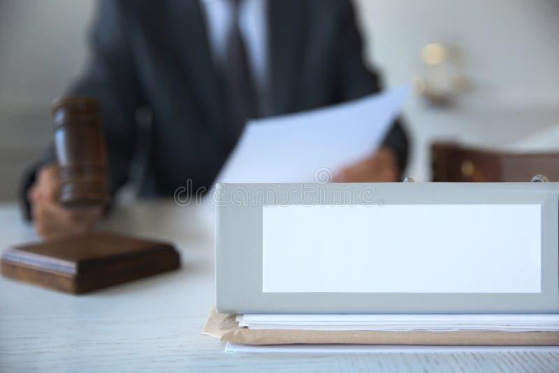 Folder on judge`s table, closeup. Folder on judge`s table, close up stock images