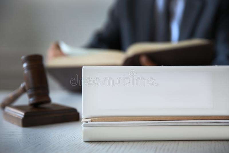 Folder on judge table,. Closeup royalty free stock images
