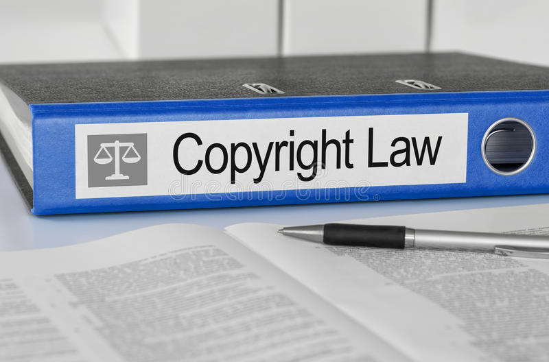 Folder with the label Copyright Law. Blue folder with the label Copyright Law royalty free stock image