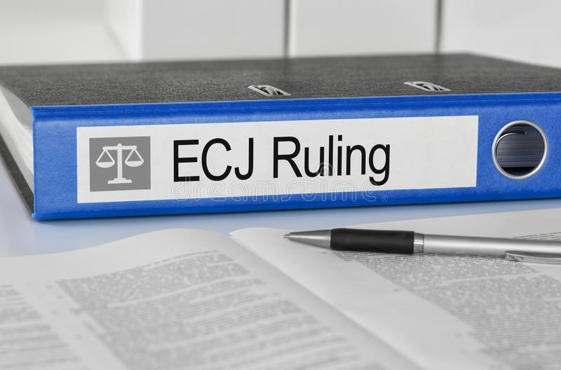 Folder with the label ECJ Ruling stock photography