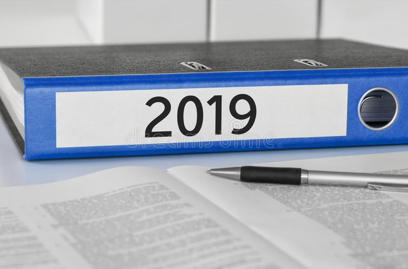 Folder with the label 2019 stock photography