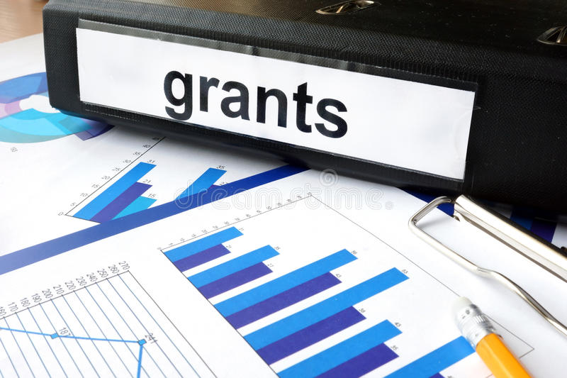 Folder with the label grants stock images