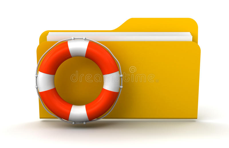 Folder And Lifebuoy (clipping Path Included) Royalty Free Stock Images