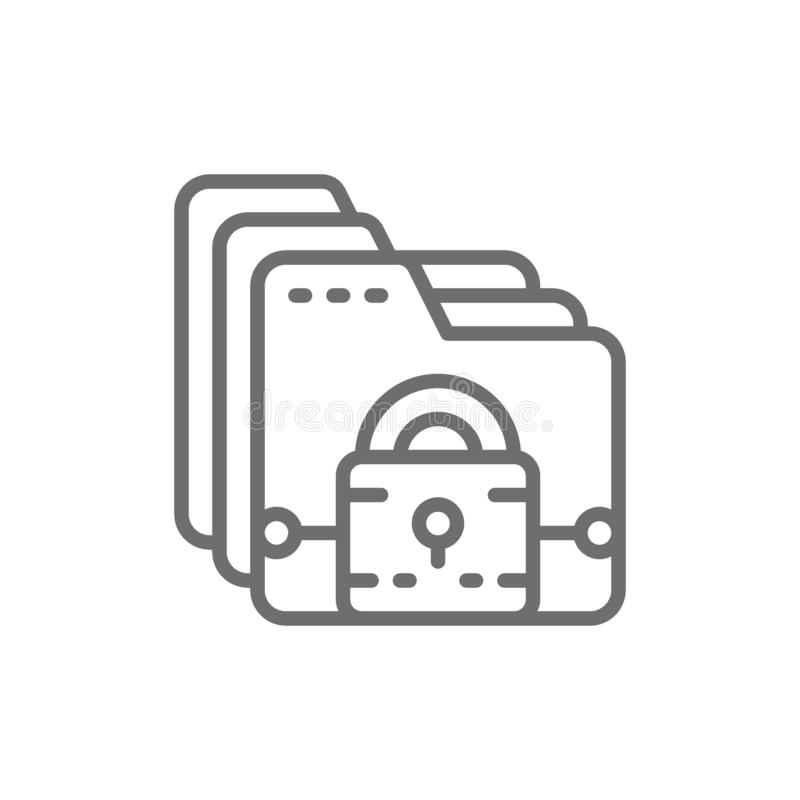 Folder with lock, file protection, data security line icon. stock illustration