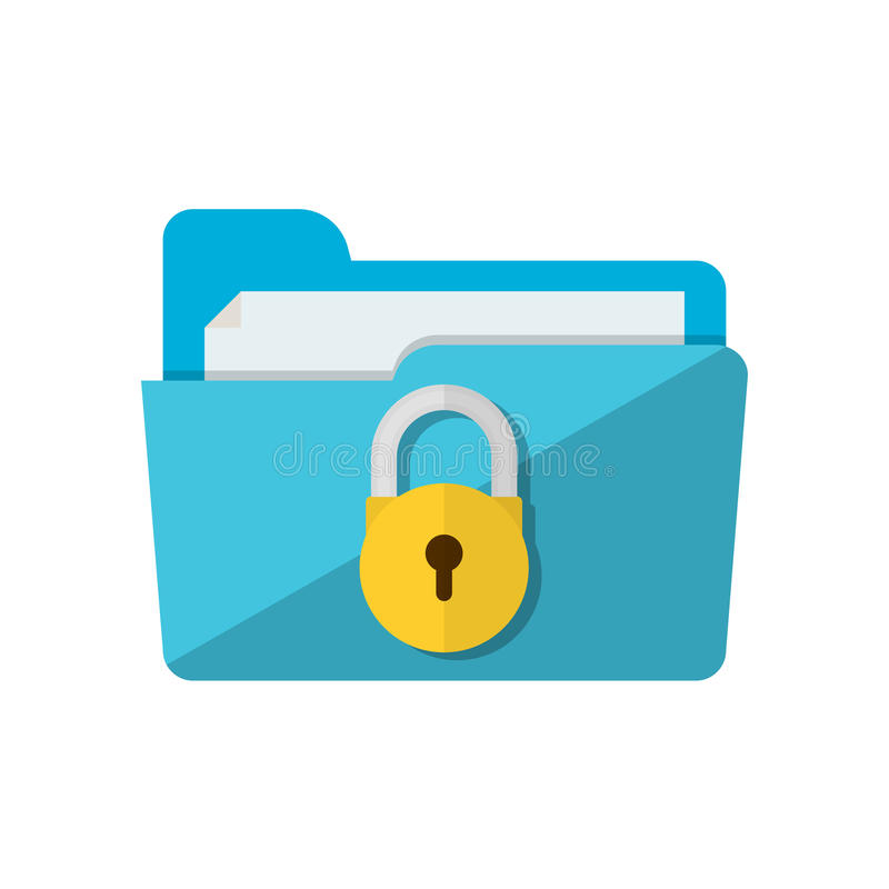 Folder lock icon vector illustration
