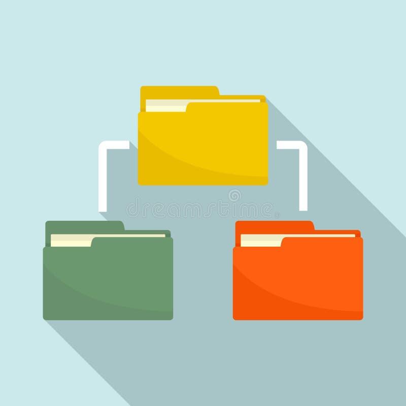 Folder network icon, flat style vector illustration