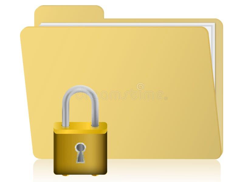 Folder with padlock. Illustration on folder security with folder and padlock isolated on white stock illustration