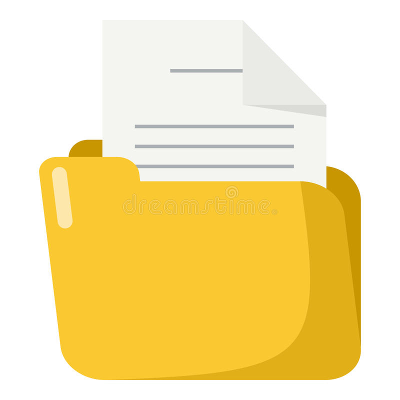 Folder with Paper Flat Icon Isolated on White royalty free illustration