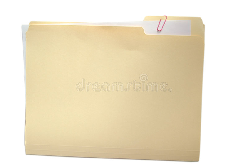Folder and paper on white stock photography